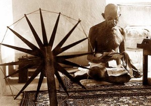 gandhi at his spinning wheel
