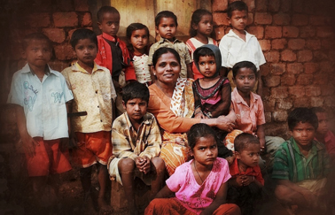 Anuradha Bhosale of AVANI with rescued children in Kolhapur India